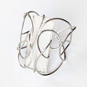 Jewelry - Artist-Made Silvertone Wire & Glass Cuff Bracelet